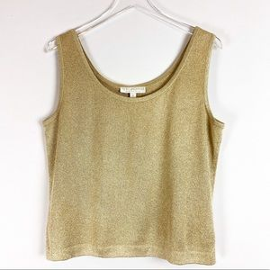 St. John Basic  | Gold metallic knit top size M